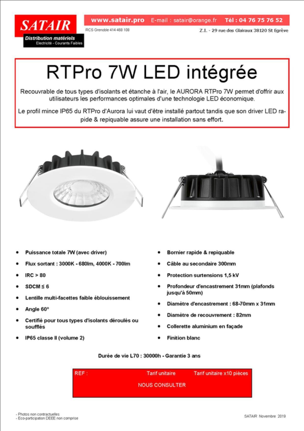 Spot AURORA RTPro 7W LED intégrée