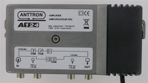 AMPLIFICATEUR DISTRIBUTION 38DB VR . 5-65M REG.PENTE 18 DB ANTTRON - A124