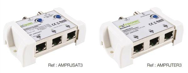 AMPLIFICATEUR D INTERIEUR TERR + SAT 1E/3S RJ45 (1 SAT + 2 TER) 20dB - AMPRJSAT3