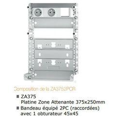 ZONE ATTENANTE 375x250 mm équipée d'un bandeau 2PC raccordées - ZA3752PCR