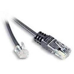 CORDON TELEPHONIQUE SURMOULE RJ11/R45 CABLE PLAT NOIR - LG : 3 M
