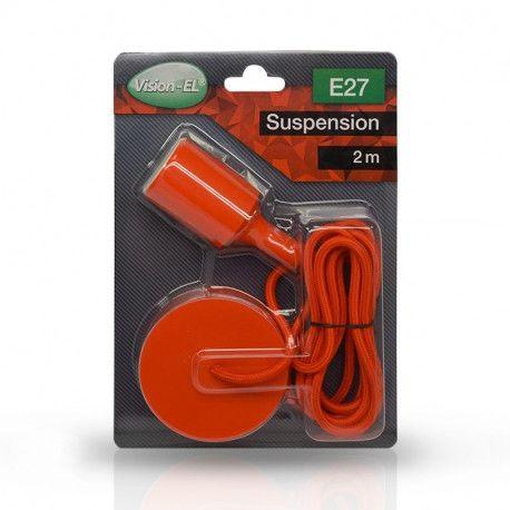 SUSPENSION SILICONE DOUILLE E27 + CABLE 2 M ROUGE - MII5004