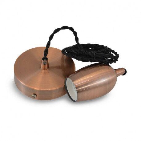 SUSPENSION METAL DOUILLE E27 CLOCHE CUIVRE ROUGE + CABLE 2 M NOIR - MII5016
