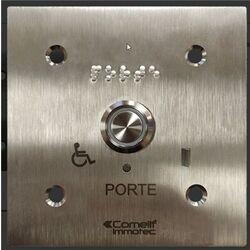 BOUTON LUMINEUX / SONORE MONTE SUR FACADE INOX 100 x100 GRAVEE PORTE B - BP/408L